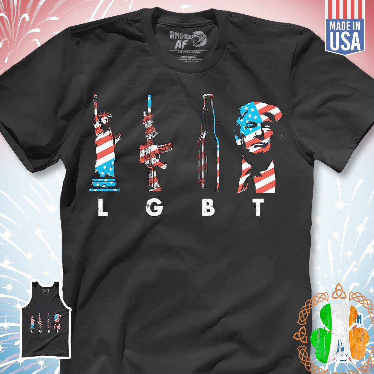 American Style LGBT Liberty Enlightening Gun Beer Trump Shirt