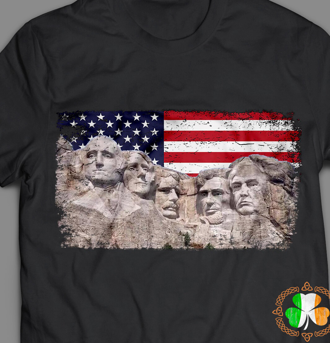 Trump 45th added to rushmore mount 4th of July shirt