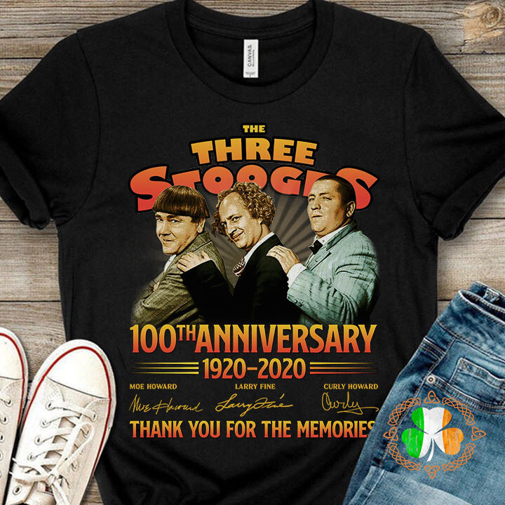 The Three Stooges 100th anniversary 1920-2020 thank you for the memories signatures shirt