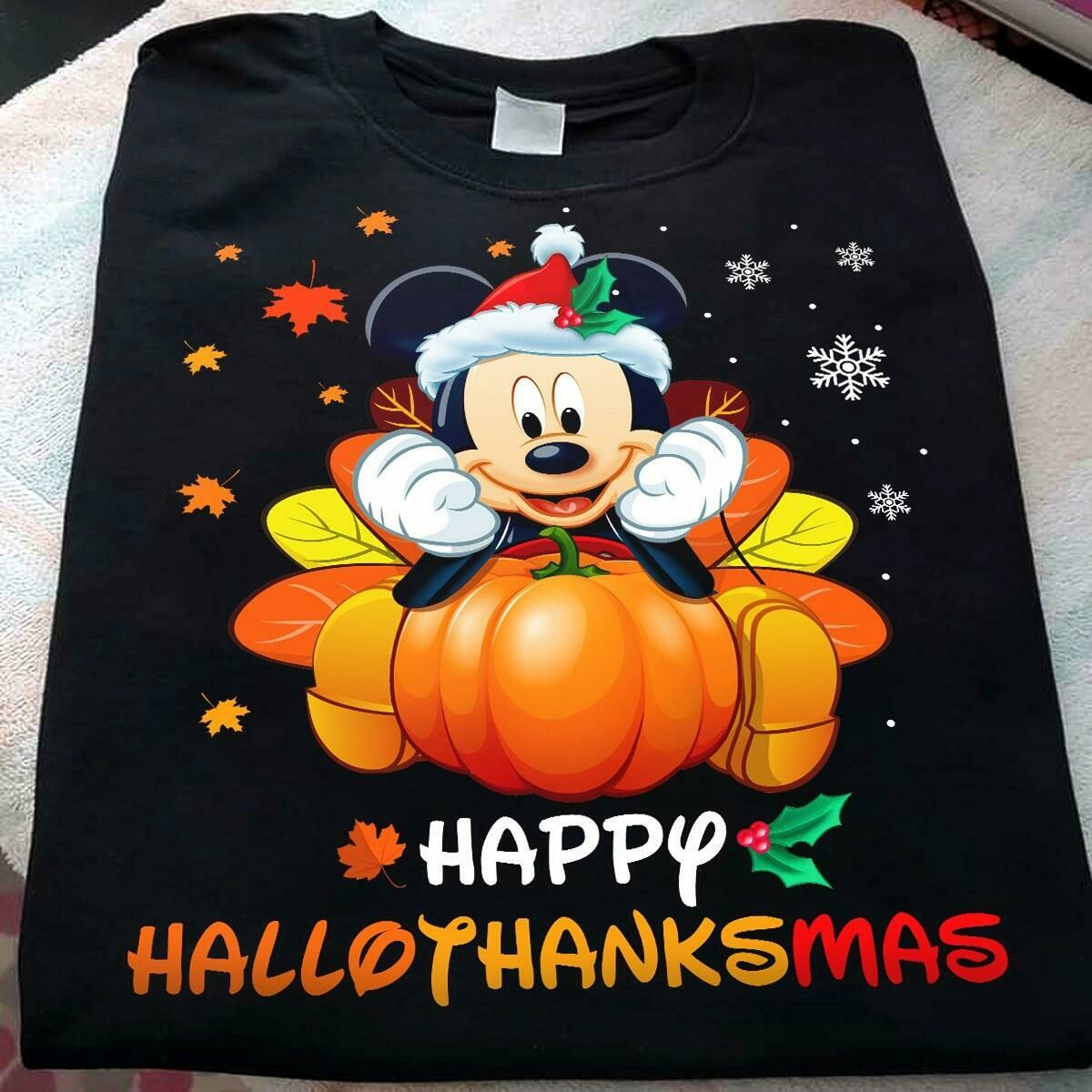 Halloween Disney Mickey Happy Hallothanksmas Christmas shirt