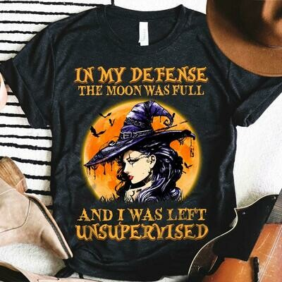 Witch and Black Cat Guitar in My defense the Moon was full and I was left unsupervised Halloween shirt