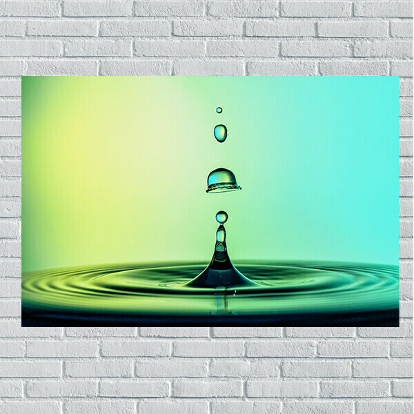 11x14 Blue & Green Water Drop on Canvas