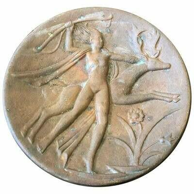 Art Deco Diane Bronze Italian Wall Plate, circa 1930