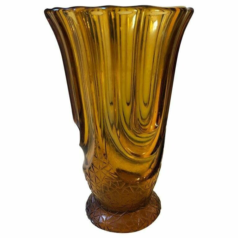 Henri Heemskerk Art Deco Amber Glass Vase, Belgium, circa 1930