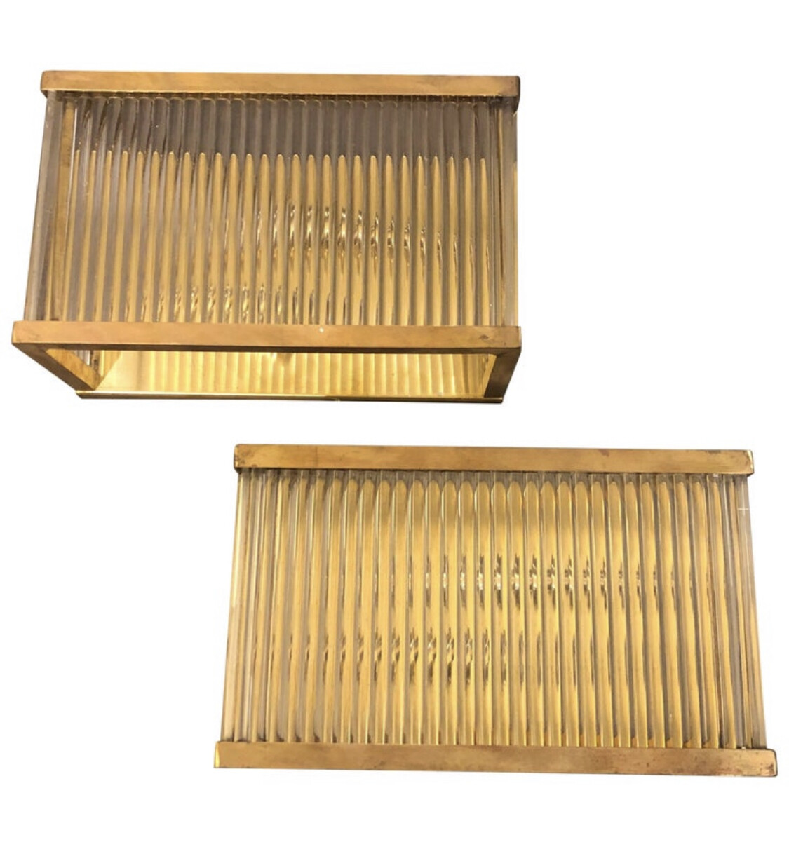 Mid-Century Modern Set of Two Brass and Glass Italian Wall Sconces, circa 1970