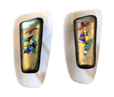 Paolo De Poli Mid-Century Modern Set of Two Enamel on Copper Wall Sconces 1960