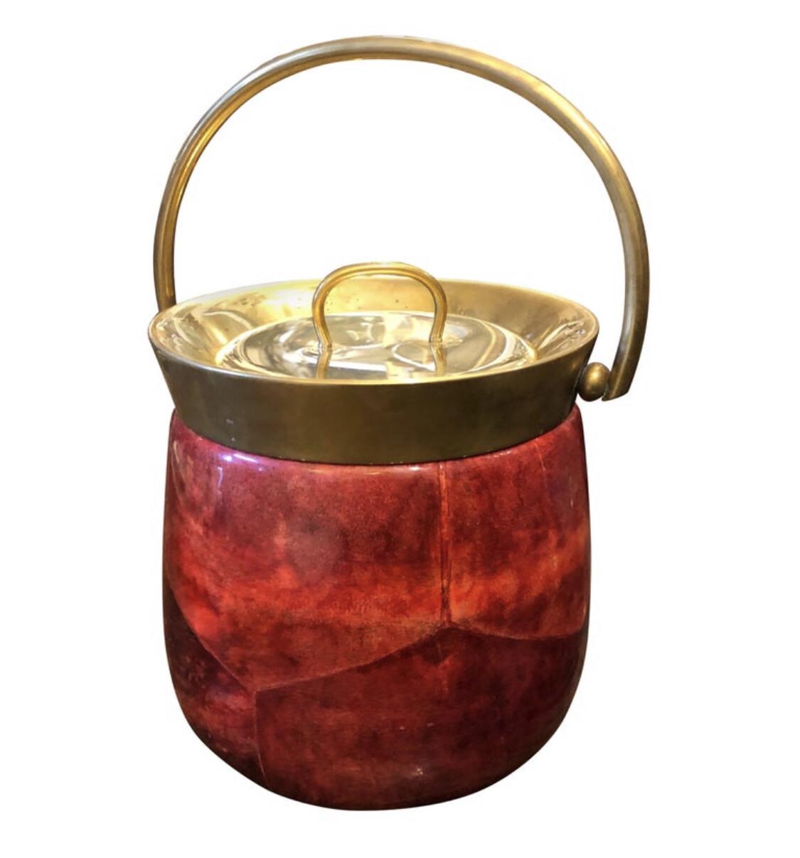 Aldo Tura Mid-Century Modern Red Goatskin and Brass Ice Bucket, circa 1950