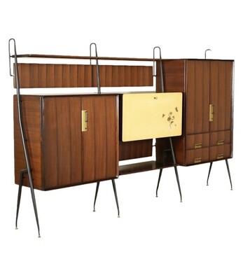 Silvio Cavatorta Mid-Century Modern Teak Sideboard Bookcase, circa 1960