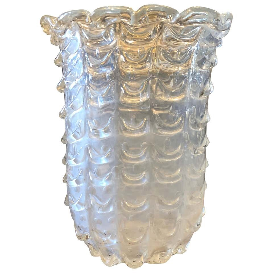 Ercole Barovier Iridescent Murano Glass Vase Made in Italy in the 1950s