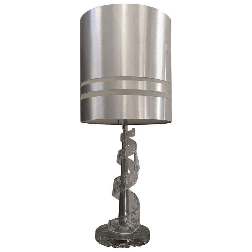 Amazing Angelo Brotto Spiral Transparent Murano Glass Table Lamp, circa 1970