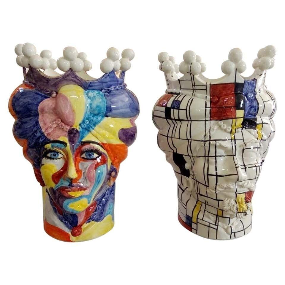 Set of Two Unique Pieces Ceramic Sicilian Moro's Head Vases in Pop Art Style
