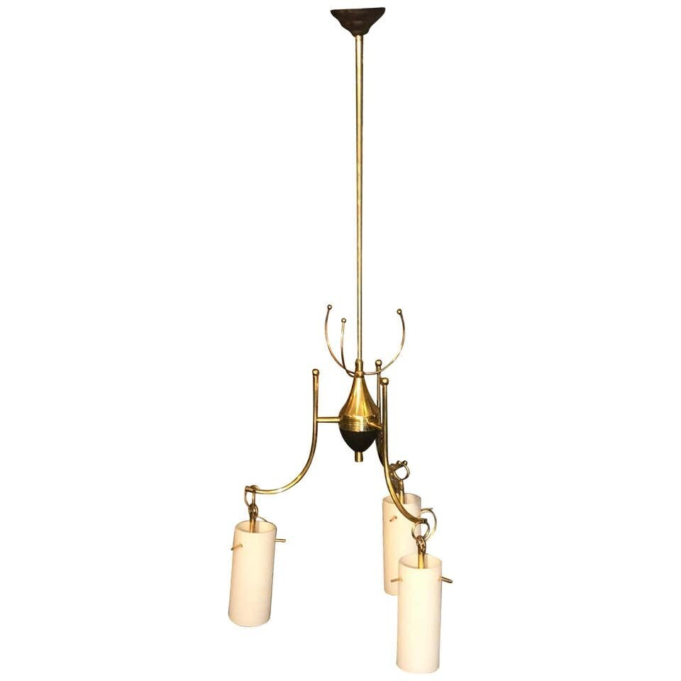 Stilnovo Style Mid-Century Modern Brass and Glass Italian Chandelier, circa 1960