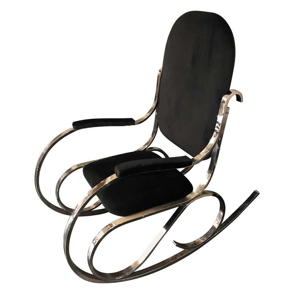 Mid-Century Modern Chrome Base and Black Velvet Italian Rocking Chair circa 1970
