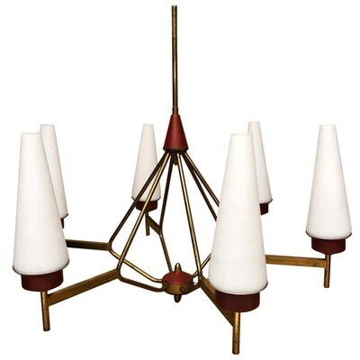 Mid-Century Modern Italian Chandelier in the Style of Stilnovo, circa 1950