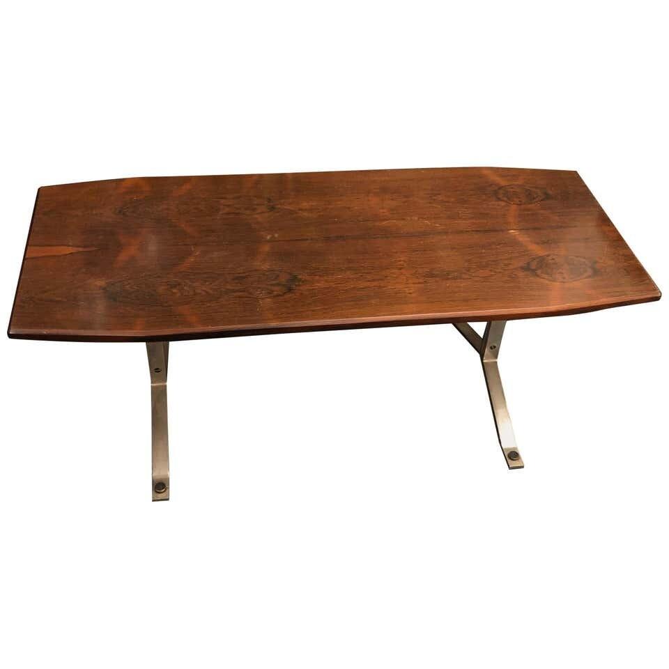 Mid-Century Modern Rosewood Rio and Steel Italian Coffee Table, circa 1970