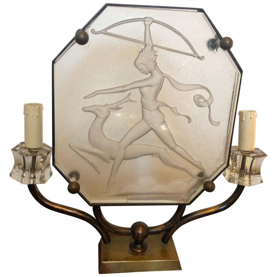 Art Deco Glass and Brass Italian Table Lamp, circa 1930
