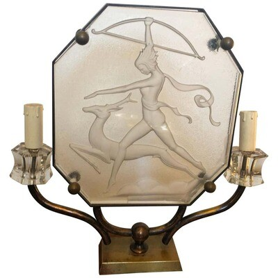 Art Deco Glass and Brass Italian Table Lamp, circa 1930