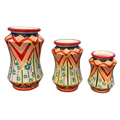 Set of Three Unique Pieces Hand Painted Sicilian Terracotta Albarello Vases