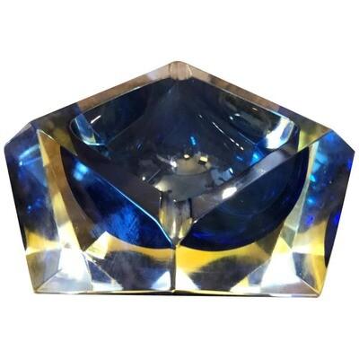 Mid-Century Modern Yellow and Blue Murano Glass Ashtray circa 1970 by Seguso