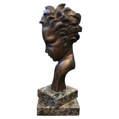 Art Deco Bronze Child Face Sculpture, Italy, circa 1930