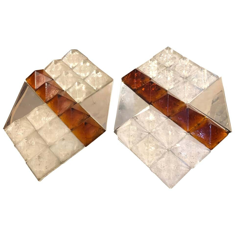 Two Huge Mid-Century Modern White and Brown Murano Glass Wall Sconces circa 1970