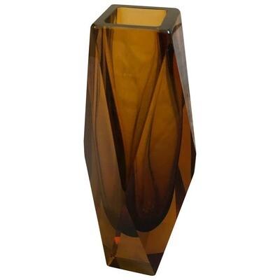 Mid-Century Modern Amber Murano Glass Vase, circa 1970