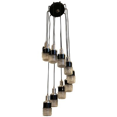 Mid-Century Modern Ten Lights Cascading Chandelier, circa 1970