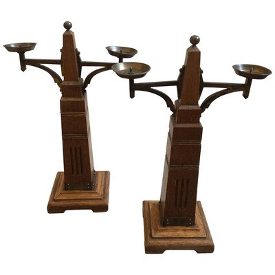 Secessionist Set of Two Oakwood and Brass Dutch Candelabra, circa 1900