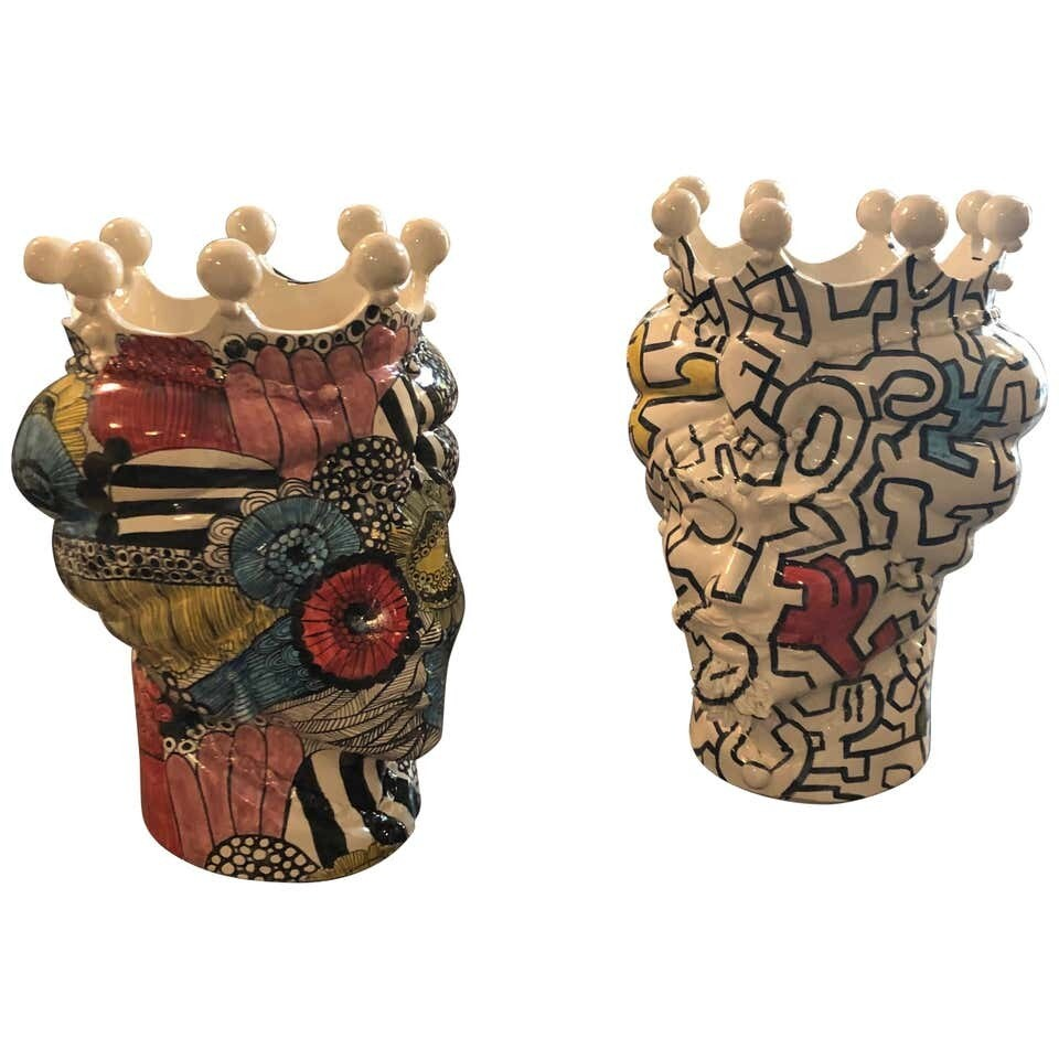 Two Pop Art Inspired Hand-Painted Clay Sicilian Moro's Head Vases