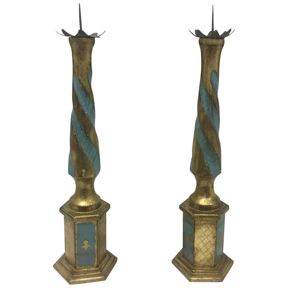 Set of Two Italian Wood Torchères, circa 1930