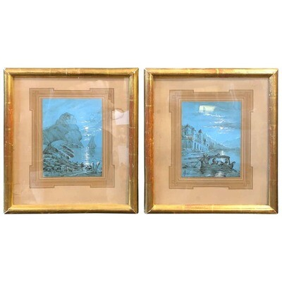 Neapolitan Hand-Painted Blue Gouaches in French Frames dated 1878