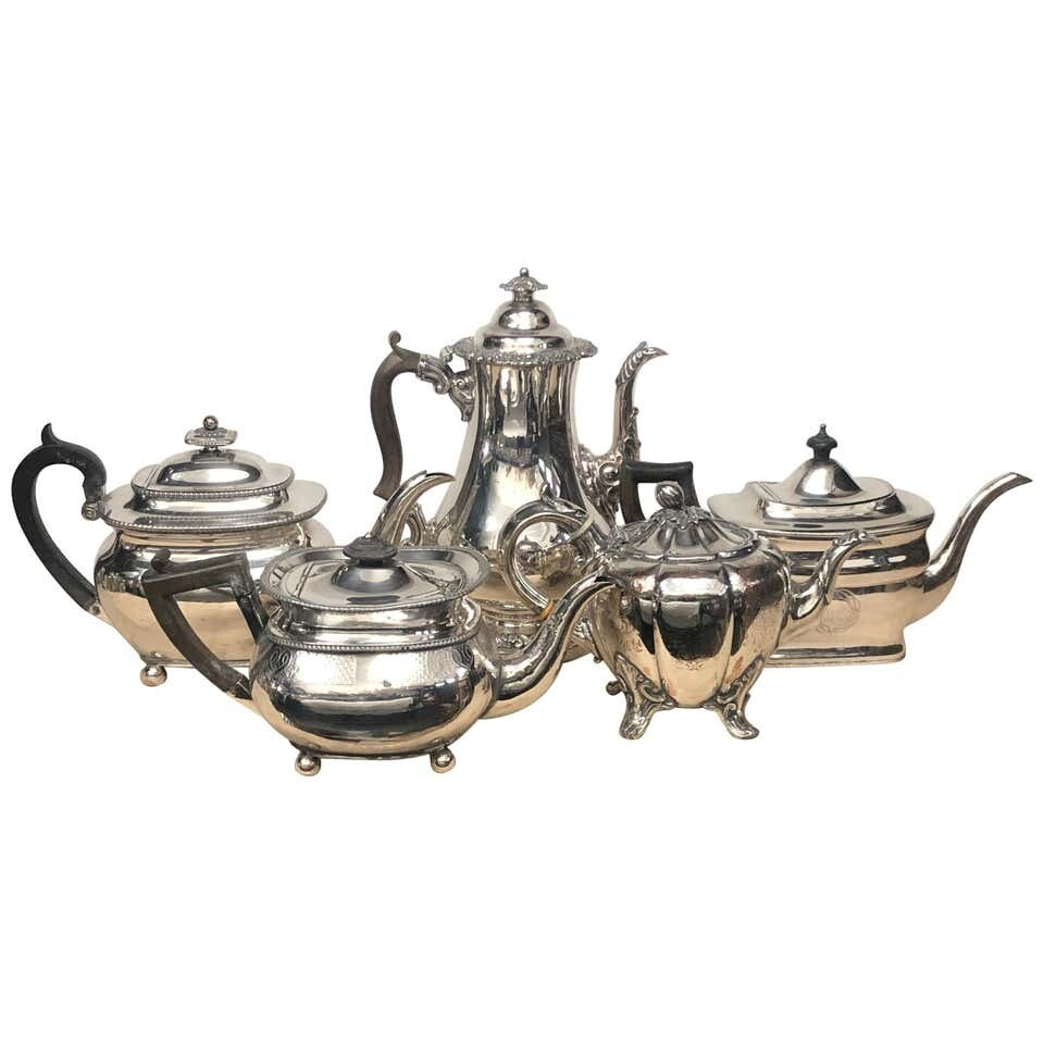 Collection of Georgian Sheffield Plate English Teapots