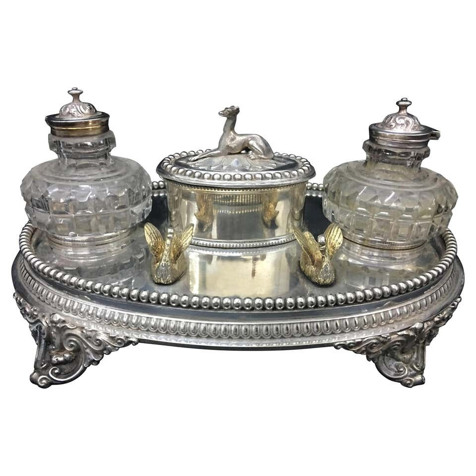 Victorian Silver Plated Inkstand, circa 1870
