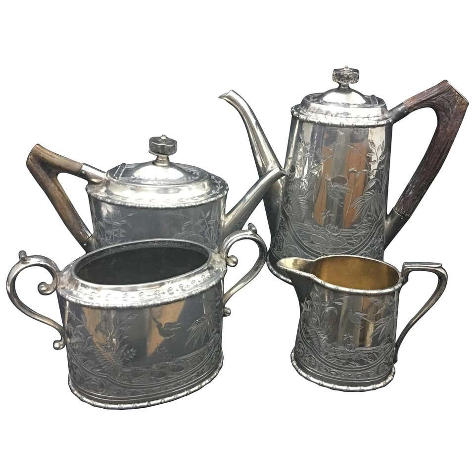 Victorian Silver Plate and Horn Tea Set by Atkin Brothers, circa 1890