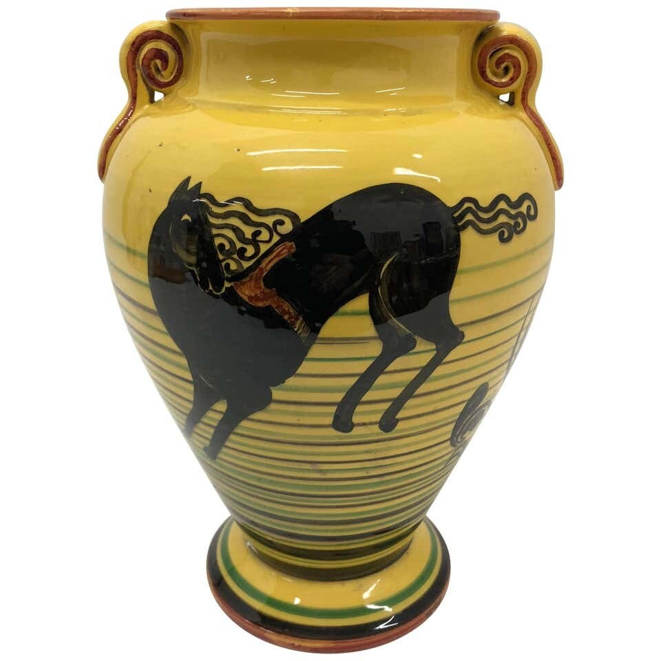 Futurist Italian Yellow Hand-Painted Ceramic Vase, circa 1930