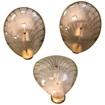 Set of Three Art Deco Brass and Glass Italian Shell Wall Sconces, circa 1930