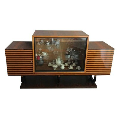 Art Deco Italian Oak Rosewood and Mahogany Sideboard, circa 1930