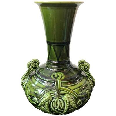 Sarreguemines Art Nouveau French Green and Light Blue Majolica Vase, circa 1930
