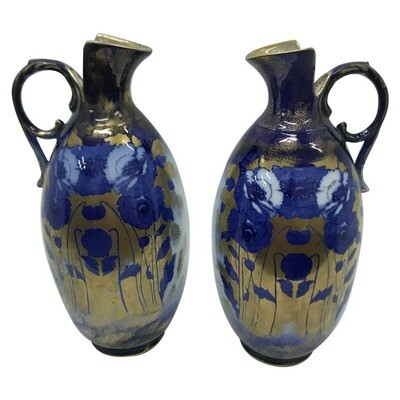Pair of Art Nouveau British blue and white Ceramic British Jugs  circa 1900