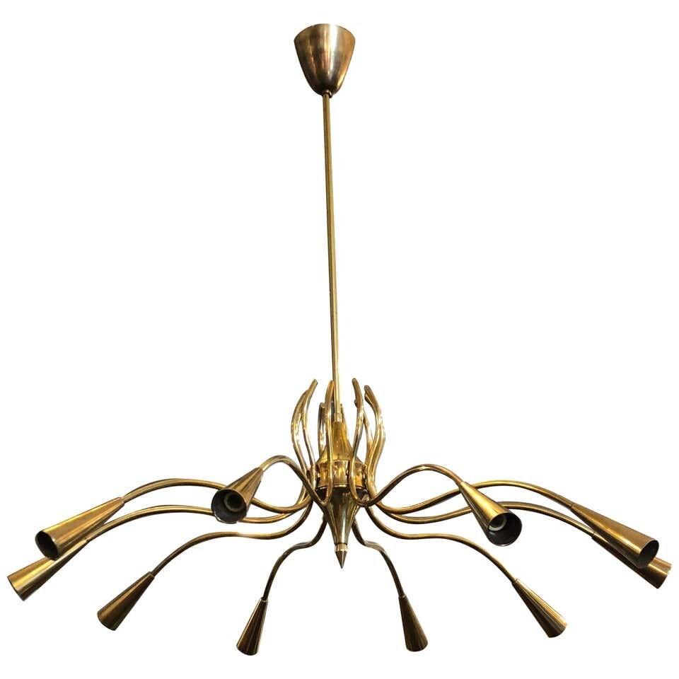 Oscar Torlasco Attributed Mid-Century Modern Brass Ten-Light Chandelier