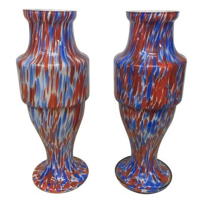 Set of Two Mid-Century Modern Red and Blue Opaline Vases by Carlo Moretti