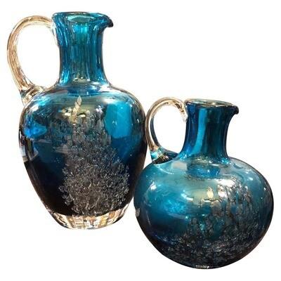 Set of Two Vintage Blue Glass Jugs by Mdina Glass, circa 1980