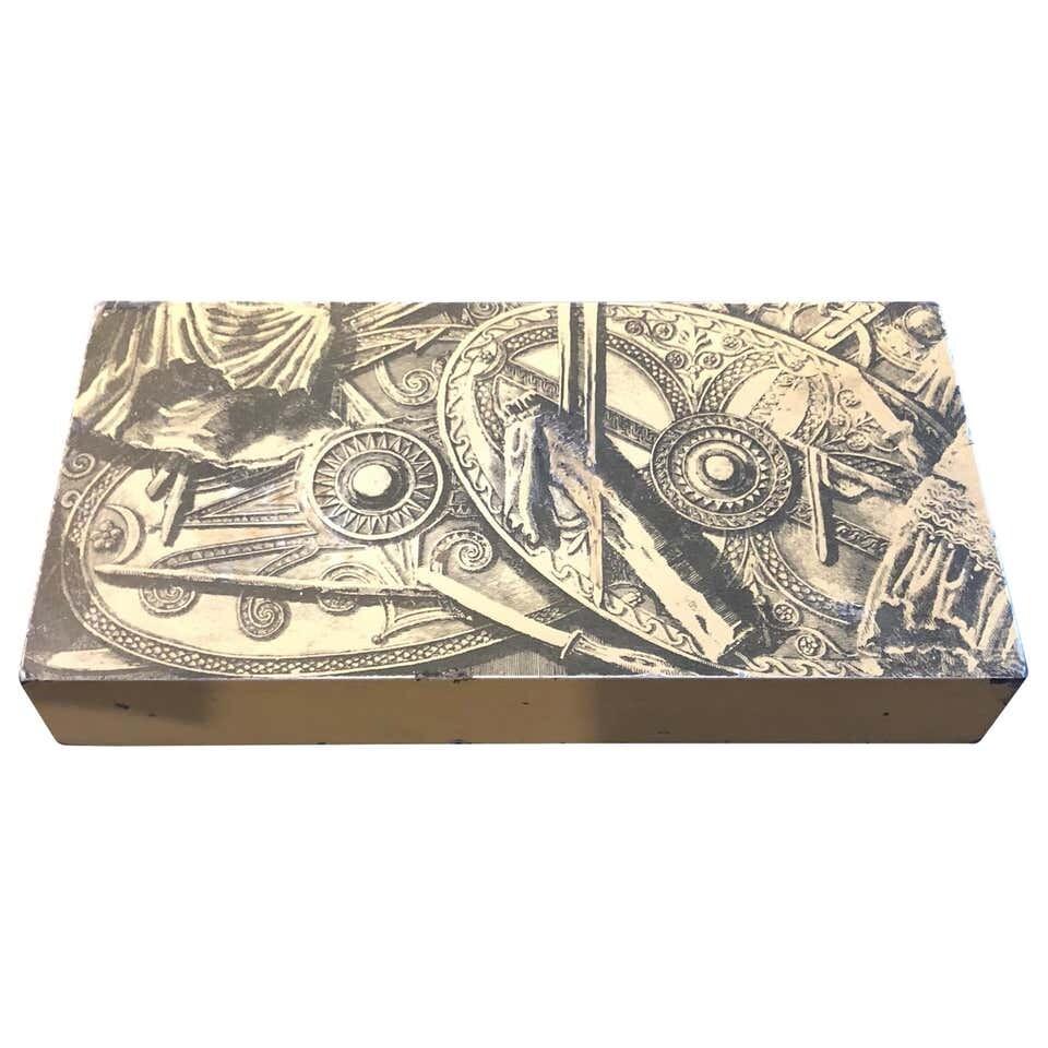 Piero Fornasetti Mahogany and Metal Italian Cigarette Box, 1950