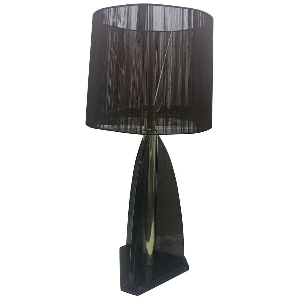Van Teal Smoked Lucite and brass American Table Lamp circa 1980