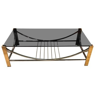 Mid-Century Modern Italian Brass, Steel and Smoked Glass Coffee Table, 1970
