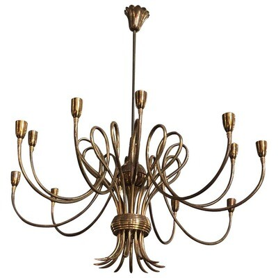 Oscar Torlasco Attributed Mid-Century Modern 12 Lights Brass Chandelier, circa 1955