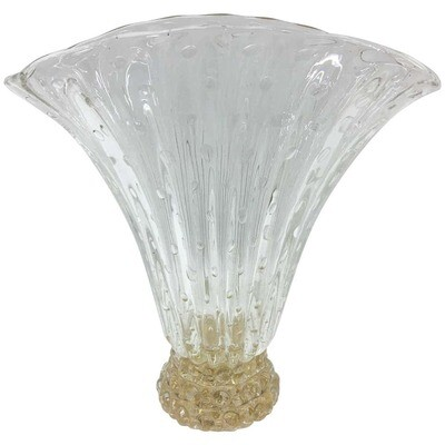 Barovier & Toso Mid-Century Modern Translucent and gold Murano Glass Vase 1970