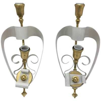 Mid-Century Modern Italian Brass and White Painted Metal Wall Sconces 1950