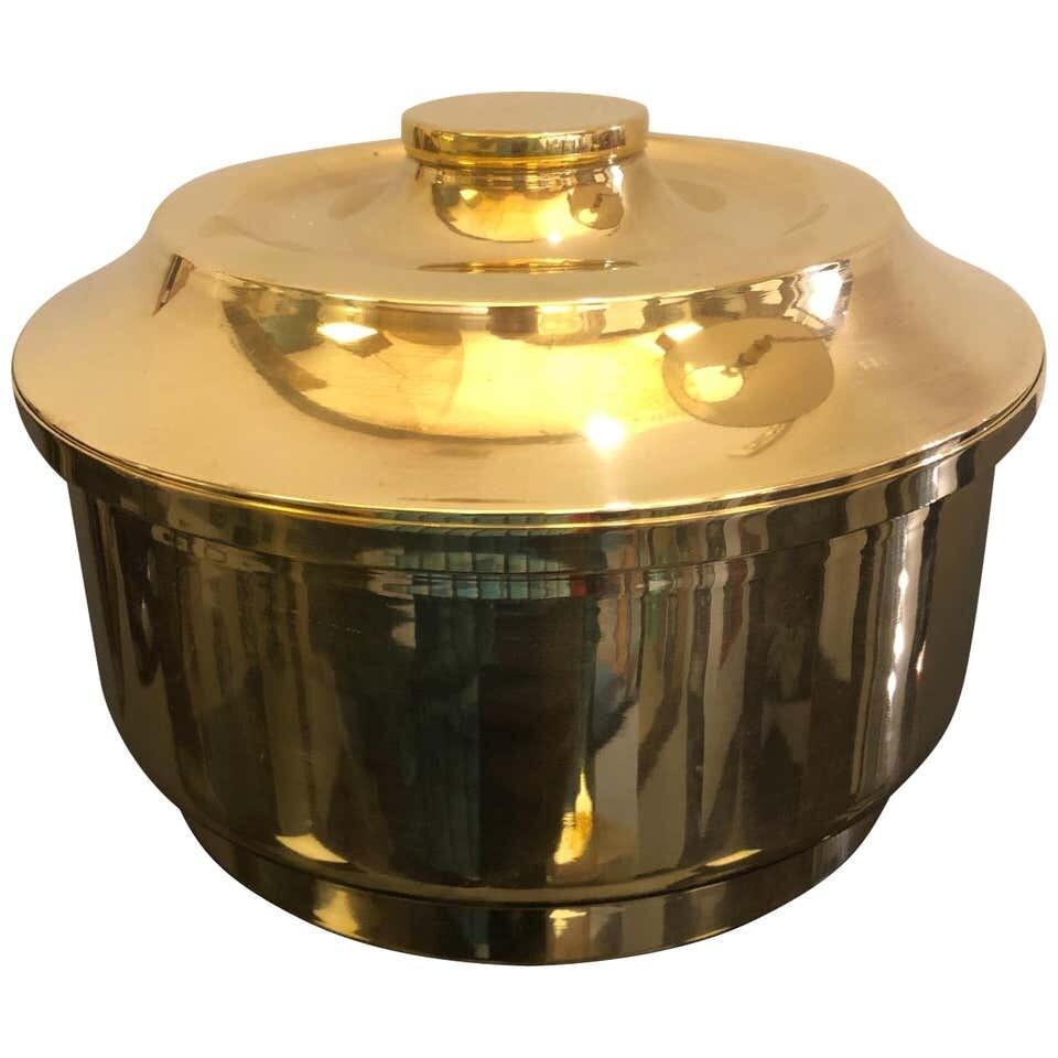 Mid-Century Modern Italian Brass Round Ice Bucket, circa 1970
