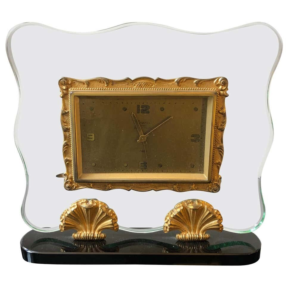 Mid-Century Modern Italian Table Clock in the Style of Fontana Arte, circa 1950